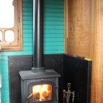 Log burner in sitting/kitchen area