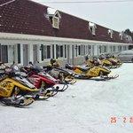 Snowmobiles at Motel