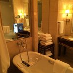 Freestanding tub and heated mirrors
