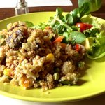 Quinoa with vegetables and salad.