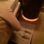 Canyon Suite - turn down service...a rug for my slippers!