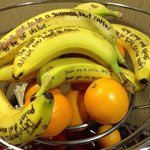 Inspirational quotes written on bananas