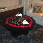 Champagne and Rose Petals arranged by our Travel Agent.