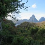 view of the pitons from our bed