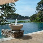 The infinity pool in front of the restaurant on the lower hillside