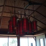 The new dining room on the hillside, we loved the lanterns
