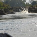 the waterfall accessed by mokoro