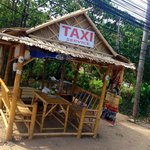 Taxi stand in front of the entrance