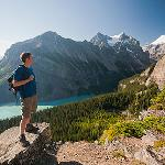 Hiking near Lake Agnes in the town of Lake Louise