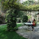 The garden seating is enchanting.