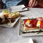 Moorish pork kebabs and sobrasada, bacon and quail eggs - both delicious