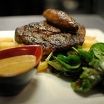 Rib Eye Steak, homecut fries, pepper sauce