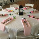 Pink table with the washed tablecloth