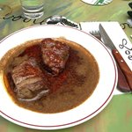 """The spicy """"Biefstuj ossenhaas 'Bali'"""" The gravy was awesome, can't wait to go back again!"""