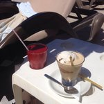Smoothie and coffee macchiato, from the poolside bar. April 2014.