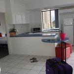 large kitchen, bedroom & bathroom