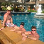 just having a dip with the boys & the fat one with the hat on hehehe