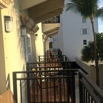 Balconies between rooms are fairly close