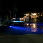 Pool grounds at night