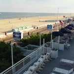 View of ocean and boardwalk from room