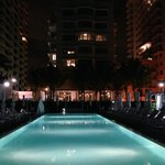 Nighttime view of the pool
