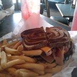 club sandwich on rye with fries