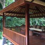 The charming pavillion of Villa Cempaka nestled in the forest