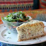 Lunch special: savory cheesecake with veggies, cheese and  meats changes daily