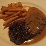French-style steak with green peppercorns finished with brandy & cream