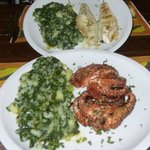 Grilled sea bass and octopus w/ swiss chard potatoes