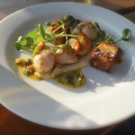 Fresh Scallops starter with Pork and crackling towers