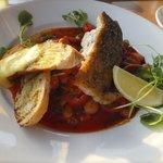 Cod with a rich chorizo and tomato dressing