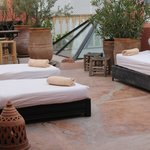 Sunloungers on the roof terrace