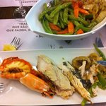 Fantastic prawns, fish and vegetables
