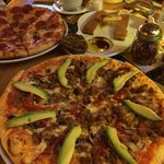 pizza with beef,bacon,bell-pepper,onion and avocado as I requested :-)