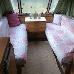 Inside one of the caravans