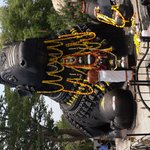 nandi statue being garlanded