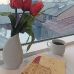 Breakfast overlooking the Reykjavik roof tops