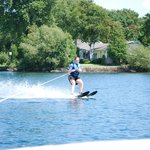 Water skiing on a warm and sunny day