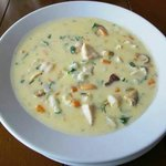 Seafood chowder with generous servings of fresh ingredients