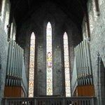 Stained glass windows with organ pipes