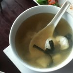 I tried the Tom Yum soup and loved it! Filled with tender seafood and tantalizing sweet/sour bro