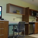 Kitchen area and big screen tv