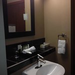 Large shelf in bathrooms. Both units had a large shelf to put your necessities on.