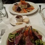 Rack of lamb and veal loin medallions