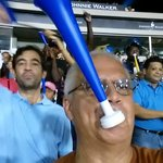 Me blowing a horn at Quisqueya