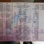 Snack bar and pool bar menu