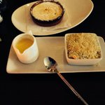 Creme brûlée  and so called apple crumble... Don't bother sweets obviously an afterthought very