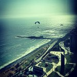 View of paragliders from the room