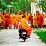 monks leave en mass to seek out alms....
